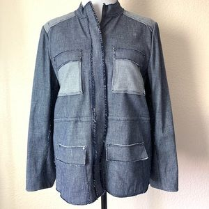 NEW Elie Tahari katya jacket denim zip up large